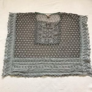 Sundance Crochet Trim Peasant Blouse